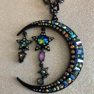 Betsey Johnson Iridescent Stars and Moon Necklace